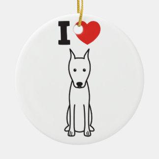 Miniature Pinscher Dog Cartoon Round Ceramic Ornament