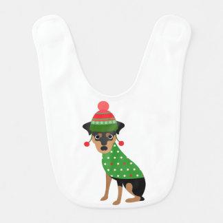 Miniature Pinscher Dog Christmas Bib