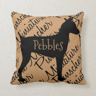 Miniature Pinscher Dog Silhouette Throw Pillow