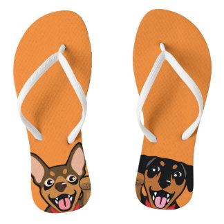 Miniature Pinscher Lucky Min Pin Dogs Flip Flops