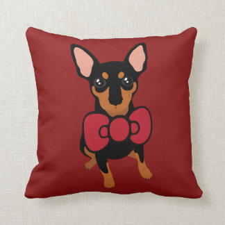Miniature Pinscher (Min Pin) Bow Christmas Pillow