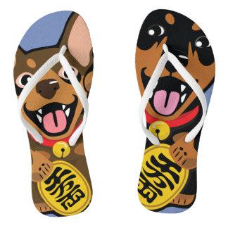 Miniature Pinscher Min Pin Dog Pop Art Flip Flops