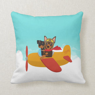 Miniature Pinscher Min Pin Pilot Airplane Pillow