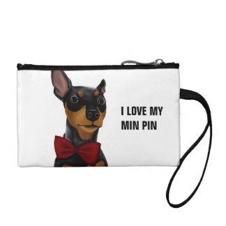 Miniature Pinscher (Min Pin) with Bow Coin Clutch