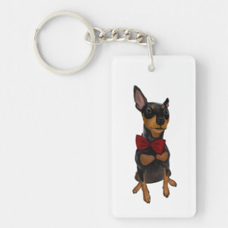 Miniature Pinscher (Min Pin) with Bow Keychains