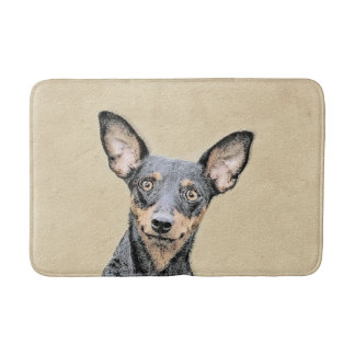Miniature Pinscher Painting - Cute Original Dog Ar Bath Mat