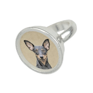 Miniature Pinscher Painting - Cute Original Dog Ar Ring