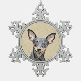 Miniature Pinscher Painting - Cute Original Dog Ar Snowflake Pewter Christmas Ornament