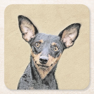 Miniature Pinscher Painting - Cute Original Dog Ar Square Paper Coaster