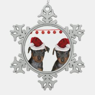 Miniature Pinscher Pewter Snowflake Ornament