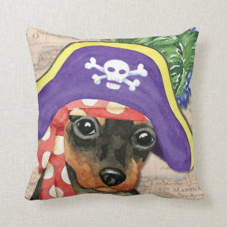 Miniature Pinscher Pirate Throw Pillow