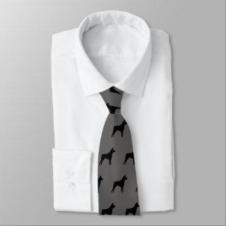 Miniature Pinscher Silhouettes Pattern Tie