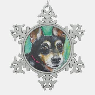 Miniature Pinscher Snowflake Pewter Christmas Ornament