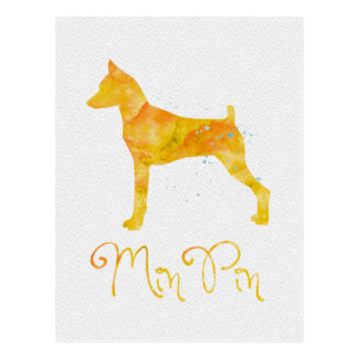 Miniature Pinscher Watercolor Design Postcard