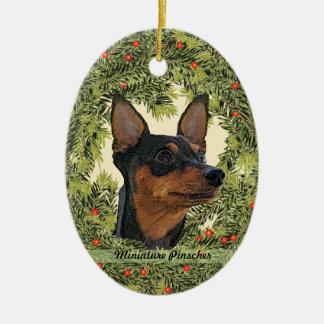 Miniature Pinscher Wreath Ceramic Oval Ornament