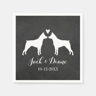 Miniature Pinschers Wedding Couple with Text Paper Napkins