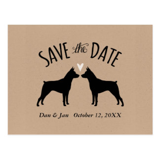 Miniature Pinschers Wedding Save the Date Postcard