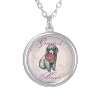 Miniature Poodle Heart Mom Silver Plated Necklace