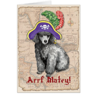 Miniature Poodle Pirate Card