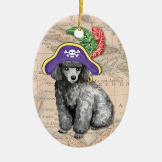 Miniature Poodle Pirate Ceramic Ornament