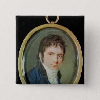 Miniature Portrait of Ludwig Van Beethoven , 1802 2 Inch Square Button