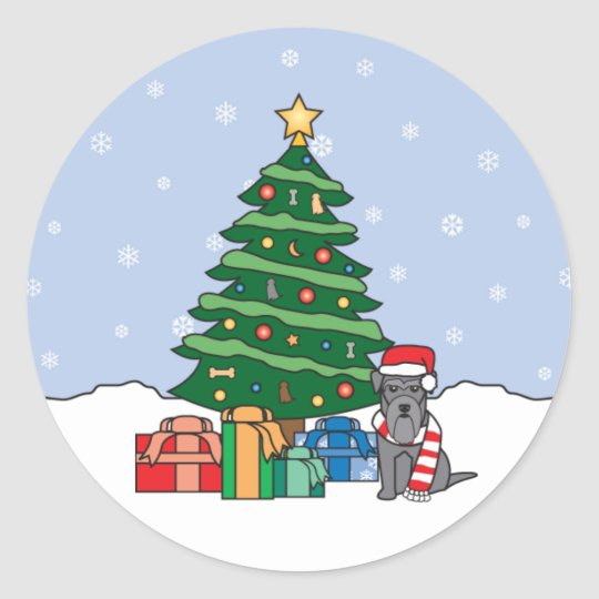 Miniature Schnauzer and Christmas Tree Classic Round Sticker
