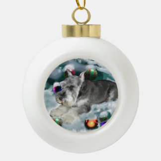 Miniature Schnauzer Christmas Ceramic Ball Christmas Ornament