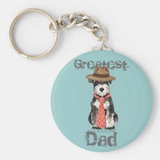 Miniature Schnauzer Dad Basic Round Button Keychain