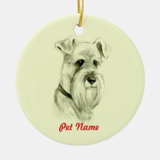 Miniature Schnauzer Dog Pencil Sketch Art Ceramic Ornament