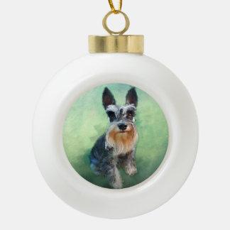Miniature Schnauzer Dog Water Color Art Painting Ceramic Ball Christmas Ornament