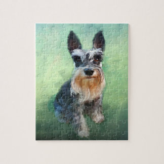 Miniature Schnauzer Dog Water Color Art Painting Jigsaw Puzzle