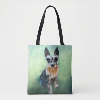Miniature Schnauzer Dog Water Color Art Painting Tote Bag