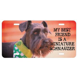 Miniature Schnauzer Friend License Plate