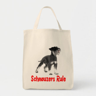 Miniature Schnauzer Gray Puppy Dog Red Love Tote