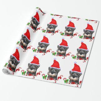 Miniature Schnauzer in Santa Hat Wrapping Paper
