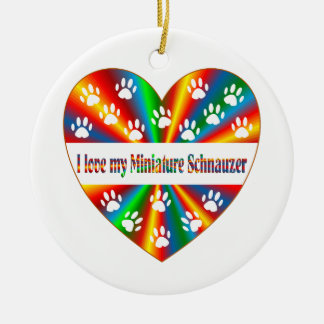 Miniature Schnauzer Love Round Ceramic Ornament