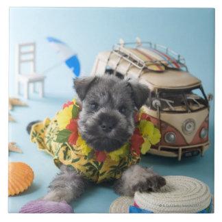 Miniature Schnauzer Puppy and Summer Vacation Ceramic Tiles