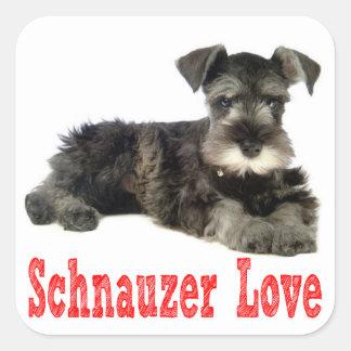 Miniature Schnauzer Puppy Dog Love Red Sticker