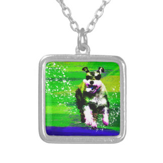Miniature Schnauzer Silver Plated Necklace