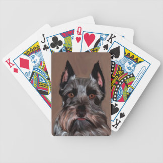 Miniature Schnauzer Water Color Art Painting Bicycle Playing Cards