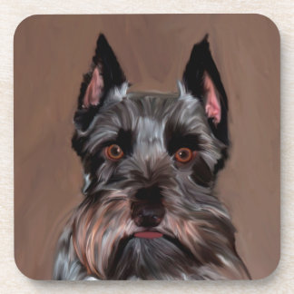 Miniature Schnauzer Water Color Art Painting Coaster