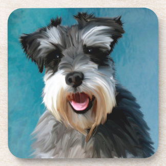 Miniature Schnauzer Water Color Art Painting Drink Coasters
