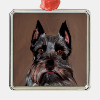 Miniature Schnauzer Water Color Art Painting Silver-Colored Square Ornament