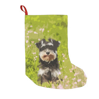 Miniature Schnauzer Water Color Art Painting Small Christmas Stocking