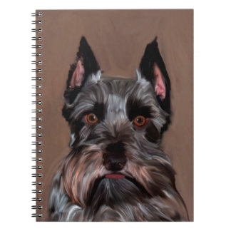 Miniature Schnauzer Water Color Art Painting Spiral Note Book