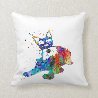 Miniature schnauzer, watercolor Miniature schnauze Throw Pillow