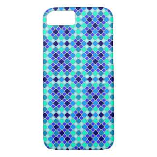 Miniature Shades of Blue, Teal & Aqua Quatrefoil iPhone 7 Case