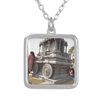 Miniature statues stone craft temples of india silver plated necklace