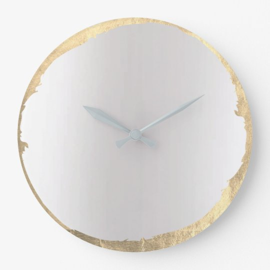 Minimal Abstract Grey Ombre Golden Circle Large Clock