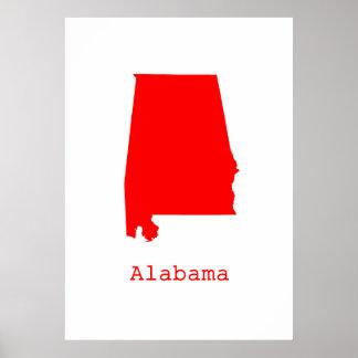 Minimal Alabama United States Poster